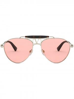 Солнцезащитные очки-авиаторы Valentino Eyewear. Цвет: золотистый