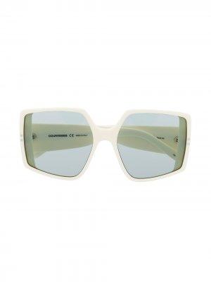 Массивные солнцезащитные очки Courrèges Eyewear. Цвет: белый