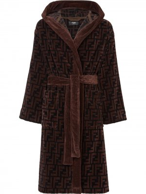 Халат с логотипом FF Fendi. Цвет: коричневый