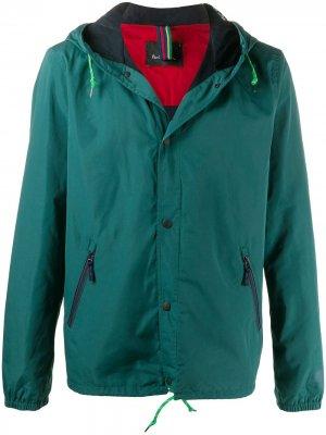 Легкая куртка с капюшоном PS Paul Smith. Цвет: зеленый