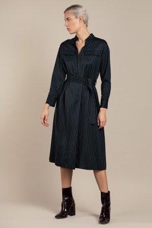 Платье-рубашка со спортивными деталями VASSA&Co. Цвет: синий