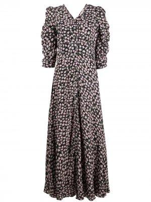 Платье со сборками и цветочным принтом byTiMo. Цвет: черный