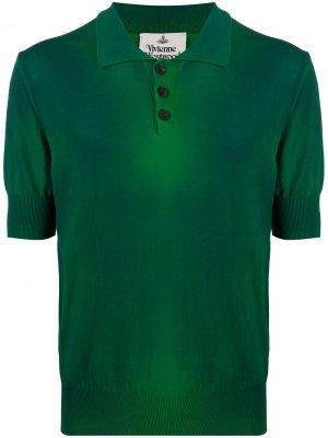 Рубашка поло с выбеленным эффектом и логотипом Vivienne Westwood. Цвет: зеленый