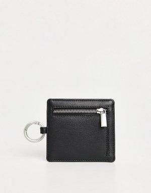 Кожаная кредитница с отделением для монет -Черный цвет Urbancode