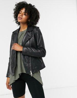 Черная кожаная байкерская куртка Allsaints-Черный AllSaints