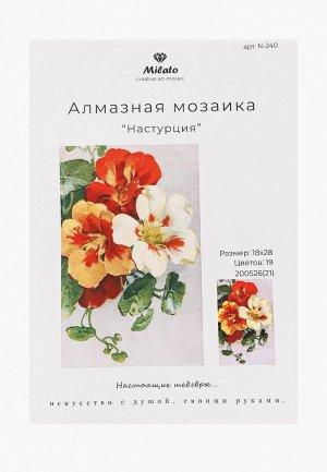 Мозаика алмазная Милато Настурция, 19 цветов, 28х18 см. Цвет: разноцветный