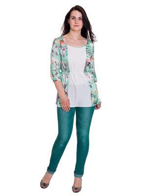 Блузка Lacy. Цвет: зеленый, белый