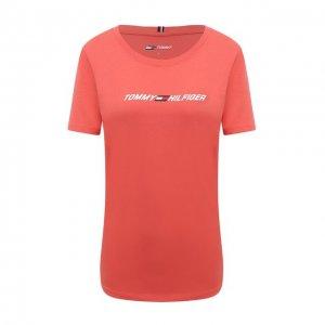 Хлопковая футболка Tommy Hilfiger. Цвет: розовый