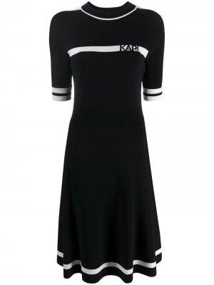 Трикотажное платье с логотипом Karl Lagerfeld. Цвет: черный