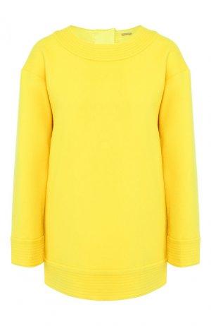 Пуловер из смеси кашемира и шерсти Adam Lippes. Цвет: желтый