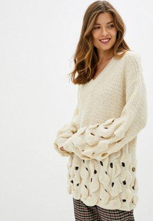 Пуловер Care of You. Цвет: бежевый