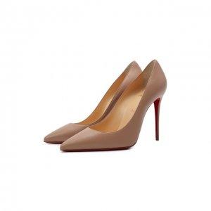 Кожаные туфли Kate 100 Christian Louboutin. Цвет: бежевый