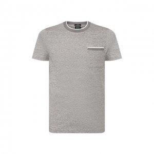 Хлопковая футболка BOSS. Цвет: серый