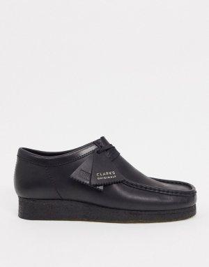 Черные кожаные туфли wallabee -Черный Clarks Originals