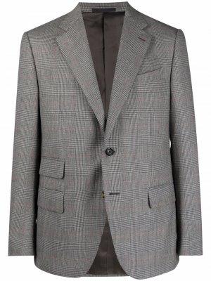 Шерстяной пиджак в клетку Caruso. Цвет: серый