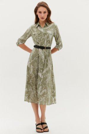Платье с ремнем Love Republic. Цвет: 15, зеленый принт