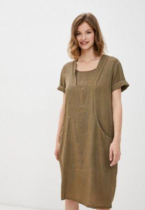 Платье Dimma. Цвет: хаки