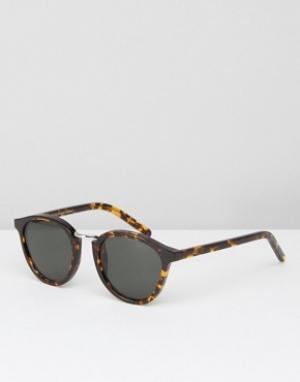 Солнцезащитные очки в круглой черепаховой оправе Monokel Nalta Eyewear. Цвет: коричневый