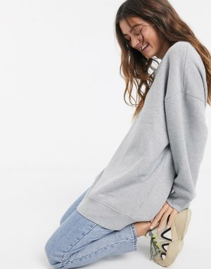 Серый длинный oversized-свитшот Monki