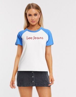 Белая/синяя футболка с рукавами реглан Lee-Белый Lee Jeans