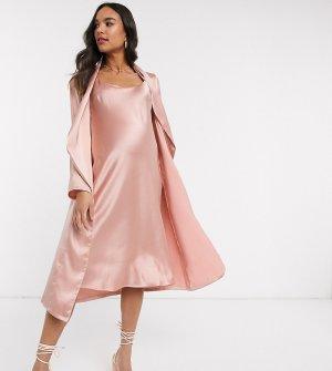 Розовое платье миди на бретелях и жакет с драпировкой Maternity-Розовый Queen Bee