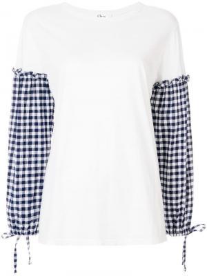 Блузка с рукавами в клетку виши Clu. Цвет: белый