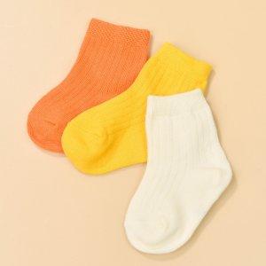 Детский 3 пары Однотонные носки до середины голени SHEIN. Цвет: многоцветный