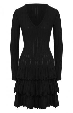 Шерстяное платье Alaia. Цвет: чёрный