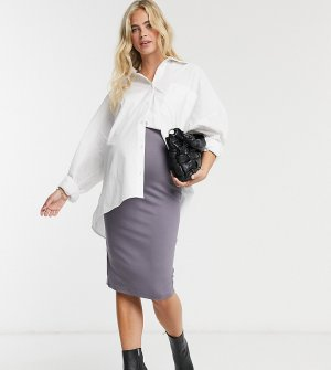 Темно-серая трикотажная юбка-карандаш миди ASOS DESIGN Maternity-Серый Maternity
