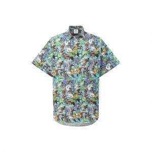 Хлопковая рубашка VETEMENTS. Цвет: разноцветный