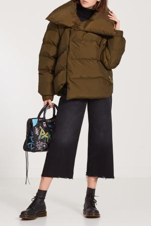 Стеганая куртка с большим воротником Papermint. Цвет: зеленый