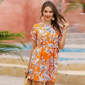 Цветочное платье-туника с поясом SHEIN. Цвет: оранжевый