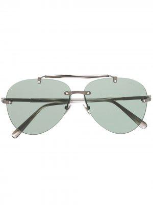 Солнцезащитные очки-авиаторы Brioni. Цвет: зеленый