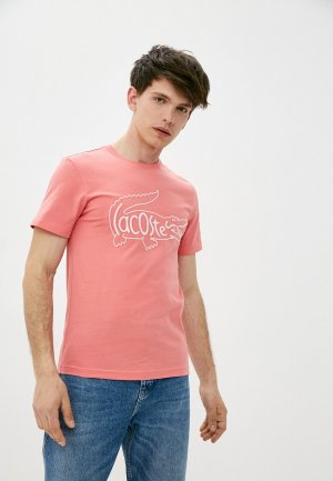 Футболка Lacoste. Цвет: розовый