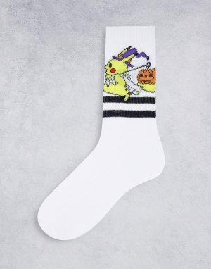 Спортивные носки с изображением покемона Пикачу Halloween-Белый ASOS DESIGN