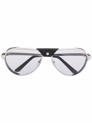 Солнцезащитные очки-авиаторы Cartier Eyewear. Цвет: серебристый