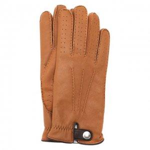 Кожаные перчатки Brunello Cucinelli. Цвет: коричневый