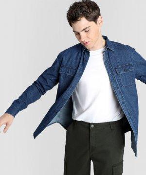 Базовая джинсовая рубашка O`Stin. Цвет: темно-синий