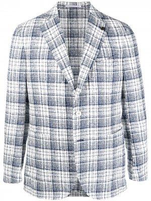 Фактурный пиджак в клетку Gabriele Pasini. Цвет: белый