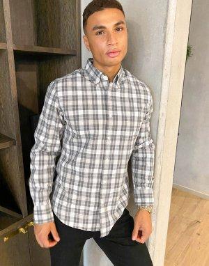 Клетчатая рубашка с длинными рукавами -Серый J Crew