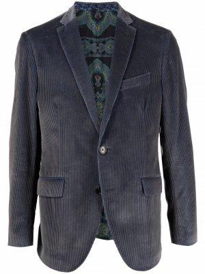Вельветовый пиджак ETRO. Цвет: синий