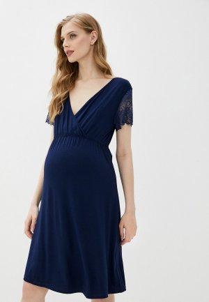 Платье домашнее Hunny mammy. Цвет: синий
