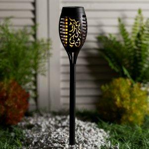 Светильник-факел уличный, 12 led, солнечная батарея, эффет горящего огня, 50 см, d-7,5 см Luazon Lighting