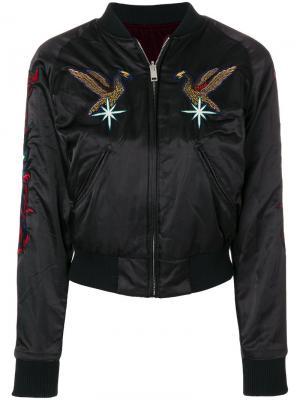 Куртка-бомбер с вышивкой Diesel. Цвет: чёрный