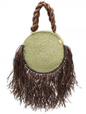 Пляжная сумка Tulum с кисточками 0711. Цвет: зеленый