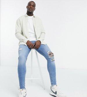 Синие выбеленные супероблегающие джинсы в винтажном стиле с рваной отделкой Tall-Синий ASOS DESIGN