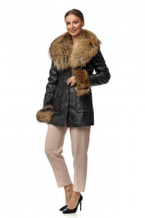 Женская кожаная куртка из натуральной кожи с воротником, отделка енот МОСМЕХА
