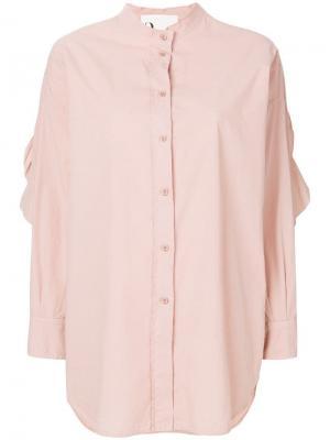 Рубашка с вырезными локтями и оборками 8pm. Цвет: бежевый