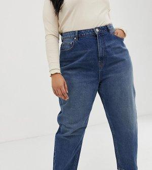 Темно-синие джинсы бойфренда со свободными штанинами ASOS DESIGN Curve-Синий Curve