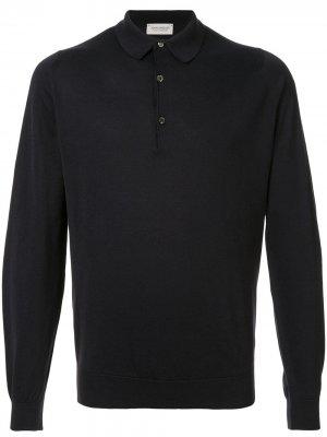 Рубашка-поло с длинными рукавами John Smedley. Цвет: черный